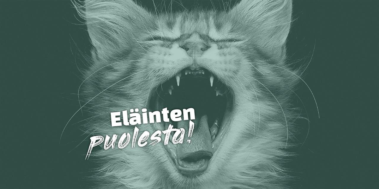 Kuvassa vihreänsävyinen kissanpentu huutaa suu ammollaan: Eläinten puolesta!
