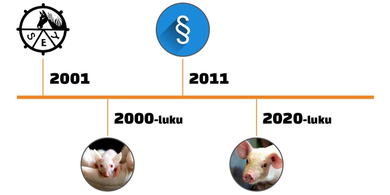 Kuvassa aikajana SEYn toiminnasta 2000-luvun alusta 2020-luvulle